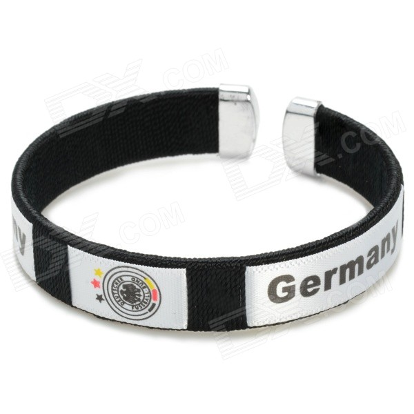 2014 World Cup Germany Football Fans Thread Embroidery Bracelet - Black(SKU 363778)