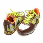 Women's Fashion Lace-up Sneakers Running Shoes - White + Green + Brown (Size 6 / Pair)