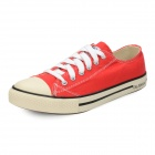 Fashionable Lace-up Lovers Canvas Casual Shoes - Red (Size 9 / Pair)