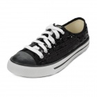 Women's Fashion Lace-up Pearl Canvas Casual Shoes - Black (Size 8 / Pair)
