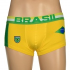 Brazil National Flag U Convex Design Men's Football Underpants - Yellow (Size L)