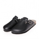 Men's PU Leather Closed Toe Slip-on Slippers - Black (Size 8.5 / Pair)