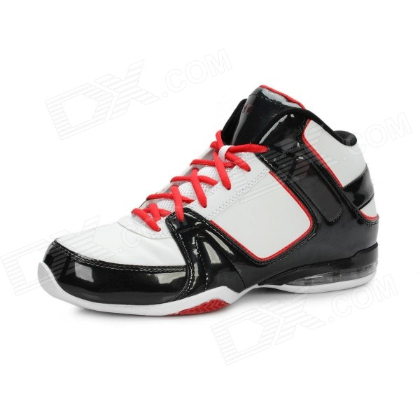 Men's Wear Resistant Damping Antiskid Basketball Shoes - Black + White + Red (Size 13 / Pair)