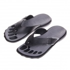 Men's Fashion Five Foot Fingerprints Flip Flops Sandals - Gray + Black (Size 8 / Pair)