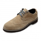 Men's Suede Calfskin Cow Muscle Soles Business Style Casual Shoes - Brown (Size 12 / Pair)