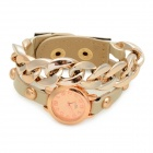 Fashionable PU Band Analog Quartz Bracelet Wrist Watch - Beige + Golden