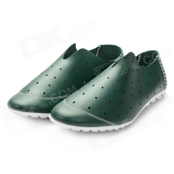 Men's Breathable Microfiber Leather Hollow Out Casual Shoes - Blackish Green (Size 9.5 / Pair) - Black Friday Seckill - Cell Phones and Accessories