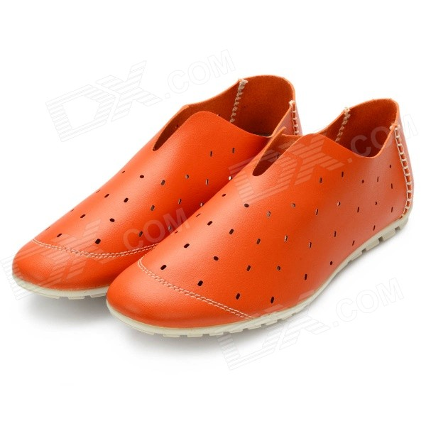 Men's Breathable Microfiber Leather Hollow Out Casual Shoes - Orange (Size 9.5 / Pair) - Black Friday Seckill - Cell Phones and Accessories