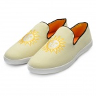 Men's Fashion Embroidery Canvas Casual Shoes - Yellow + Beige (Size 11 / Pair)