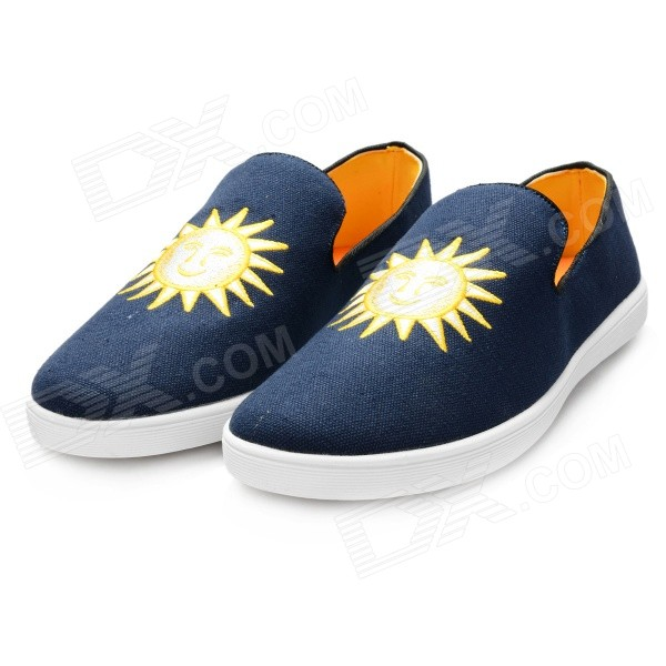 Men's Fashion Embroidery Canvas Casual Shoes - Dark Blue + Golden Yellow (Size 11 / Pair) men s fashion embroidery canvas casual shoes dark blue golden yellow size 11 pair