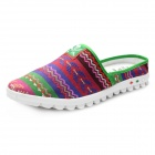 Summer Fashion Ethnic Style Slip-On Canvas Casual Sandals - Purple + Multicolor (Size 8.5 / Pair)
