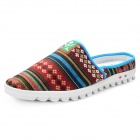 Summer Fashion Ethnic Style Slip-On Canvas Casual Sandals - Brown + Multicolor (Size 8.5 / Pair)