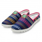 Summer Fashion Ethnic Style Slip-On Canvas Casual Sandals - Dark Blue + Multicolor (Size 8.5 / Pair)