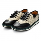Men's Fashionable Carving Pattern Sports Lace-up Casual Shoes - Black + Khaki (Size 8.5 / Pair)