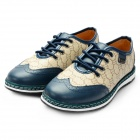 Men's Fashionable Carving Pattern Sports Lace-up Casual Shoes - Dark Blue + Khaki (Size 9 / Pair)