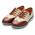 Men's Fashionable Carving Pattern Sports Lace-up Casual Shoes - Brown + Khaki (Size 8.5 / Pair)