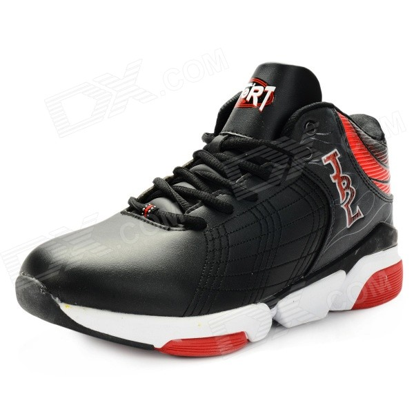 Men's Wear Resistant Non-slip Damping Basketball Shoes - Black + Red (Size 9 / Pair)