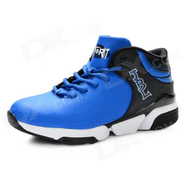 Men's Wear Resistant Non-slip Damping Basketball Shoes - Black + Blue (Size 8.5 / Pair)