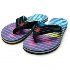 Men's Summer Fashion Breathable Beach Flip Flops Slippers - Blue + Multicolor (Size 9.5 / Pair)