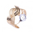 Mode Half-Wave-Quarzuhr w / Armband - Golden