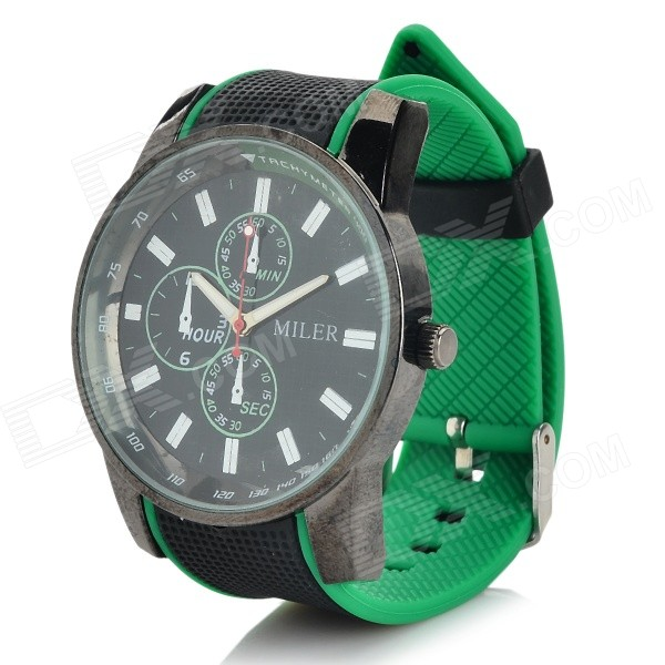 Men's Casual Style PVC Band Analog Quartz Wrist Watch - Black + Green (1 x SR626SW)