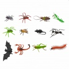 Plastic 12-in-1 Little Insects Toy Set - Black + Purple + Multicolor
