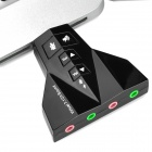 External USB Powered 7.1-CH Separate Sound Card for Laptop / Desktop PC - Black