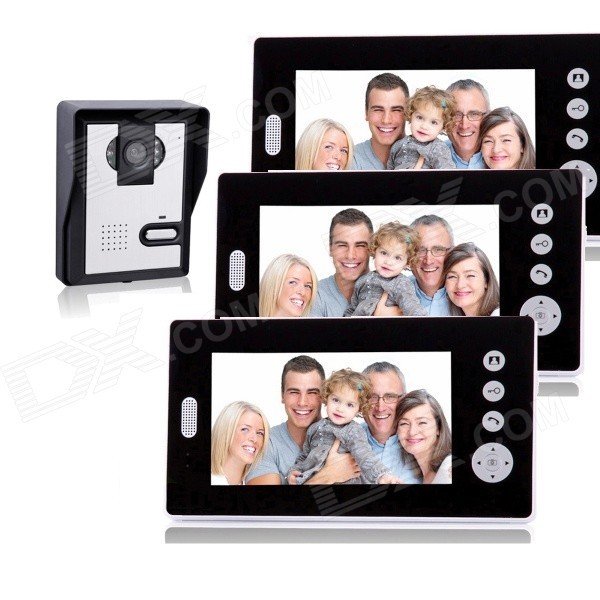 KX7001-1V3 7 Screen Wireless Video Door Phone w/ 1 Night Vision Camera + 3 Monitors - White + Black kx3501 1v3 3 5 lcd wireless video door phone 1 camera 3 monitors set blackish grey