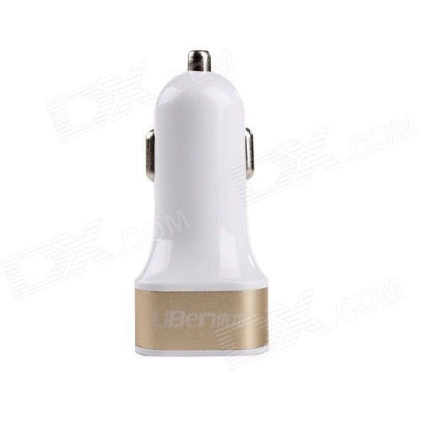 Uben CC01 Mini USB 2.0 Car Cigarette Charging Adapter - Golden + White