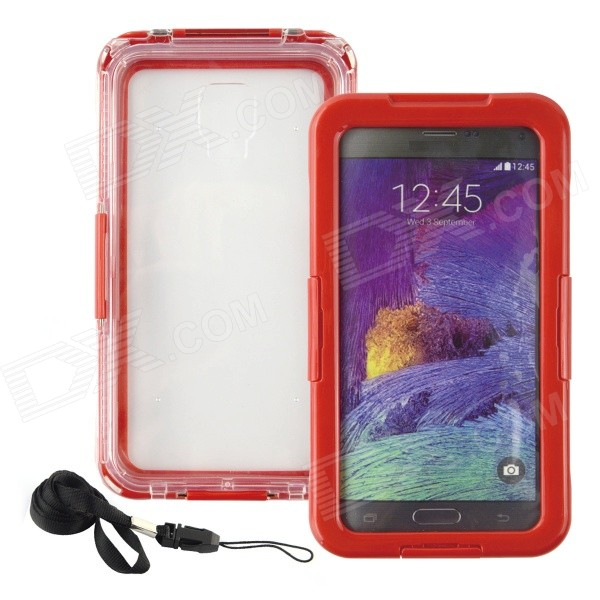 где купить Saim Protective Plastic + Silicone Waterproof Shell Case for Samsung Galaxy Note2 / 3 / 4 - Red дешево
