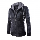 PY31 Men's European Style False Two-piece Slim Hooded PU + Cotton Motorcycle Jacket - Black (XXL)