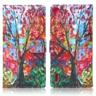 ENKAY Maple Tree Pattern Protective PU + Silicone Case w/ Stand for Huawei Ascend P7 - Multicolored