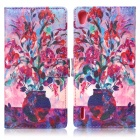ENKAY Vase Pattern Protective PU + Silicone Case w/ Stand for Huawei Ascend P7 - Multicolored