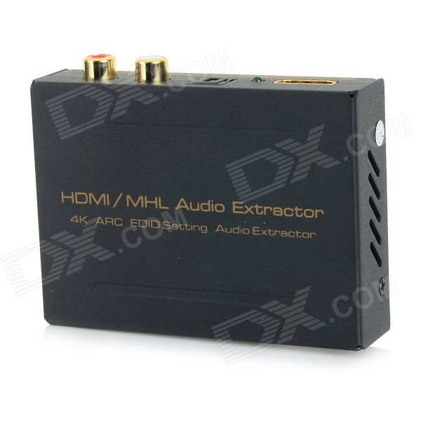 HDMI / MHL Audio Extractor / Splitter w/ SPDIF + R/L - Black + Golden 2 to 4 full hd 1080p w deep color hd audio 3d hdmi splitter aux spdif black 2 in 4 out