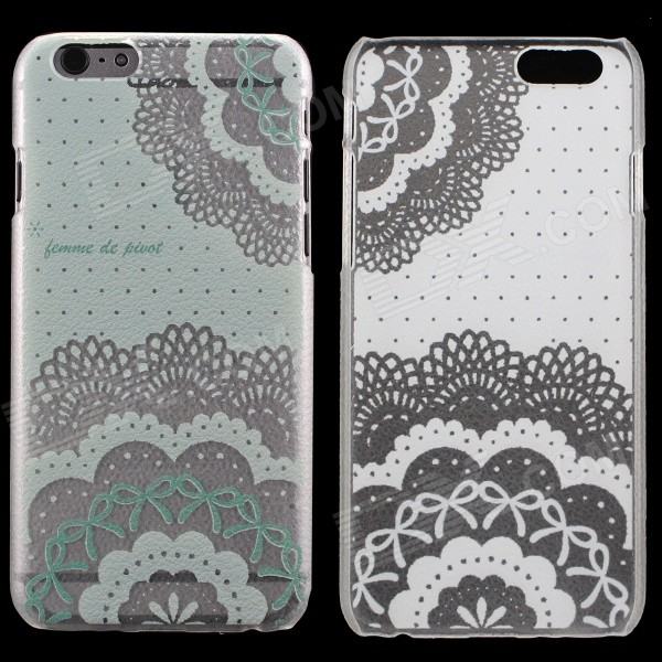 Flowers Patterned Protective PC Back Cover Case for IPHONE 6 - Transparent + Green