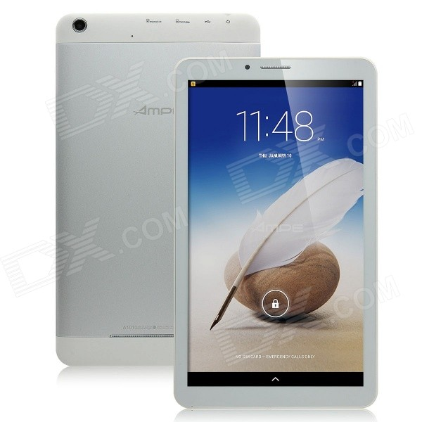AMPE A101 Dual-Core 10.1 Android 4.4 Tablet PC w/ 8GB ROM / Bluetooth / Wi-Fi - White + Silver