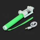 Handheld Bluetooth Selfie Telescopic Monopod w/ Holder / Strap - Green + White