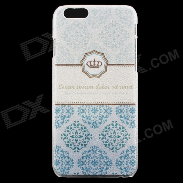 Crown Pattern Protective PC Back Case for IPHONE 6 - Cyan + White kavaro swarovski rose gold plated pc hard case for iphone 6s 6 mandala pattern