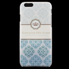 Crown Pattern Protective PC Back Case for IPHONE 6 - Cyan + White