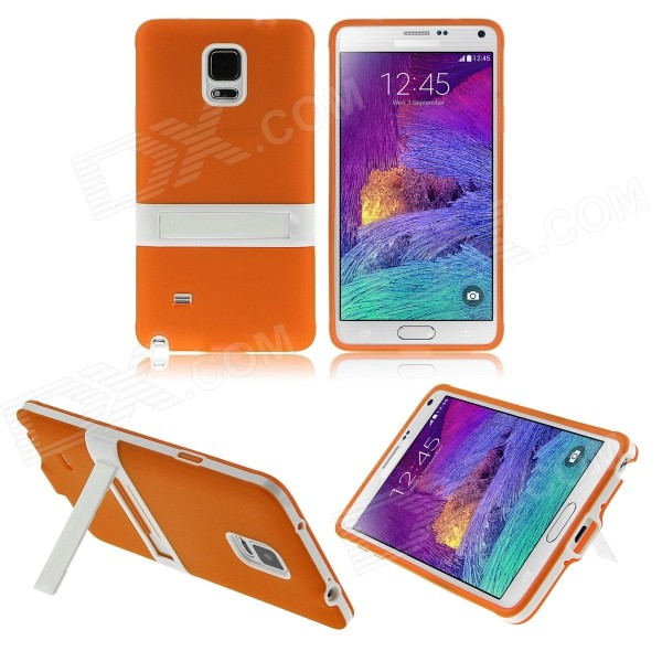 ENKAY Protective TPU Back Case Cover w/ Stand for Samsung Galaxy Note 4 N9100 - Orange + White 2 in 1 detachable protective tpu pc back case cover for samsung galaxy note 4 black