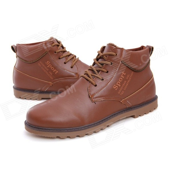 NT00022-12 Men's Fashion Casual Winter Warm Martin Boots - Brown (Pair / Size 39) fawn warm women s snow boots brown size 37