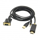CY HD-171-1.8M PC Laptop VGA Input + USB Power + Audio to HDMI Male HDTV Adapter Cable (1.8m)