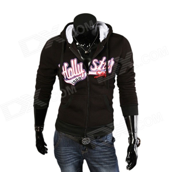 Men's Fashionable Retro Printing Pattern Hooded Sweater - Black + Multicolor (L)