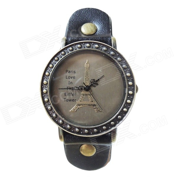Retro Style Eiffel Tower Pattern PU Analog Quartz Wrist Watch for Women - Black + Bronze (1 x AG4)