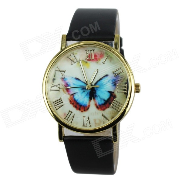 Women's Fashion Butterfly Pattern PU Band Analog Quartz Watch - Black (1 x 377)