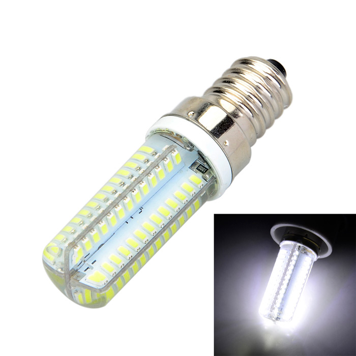 Marsing E14 Cross Silicone Seal 10W 900lm 6500K 104-SMD 3014 LED Cool White Light Bulb (AC 220V) marsing e14 frosted cover 10w 1000lm 3500k 56 x smd 5730 led warm white light bulb lamp ac 220v