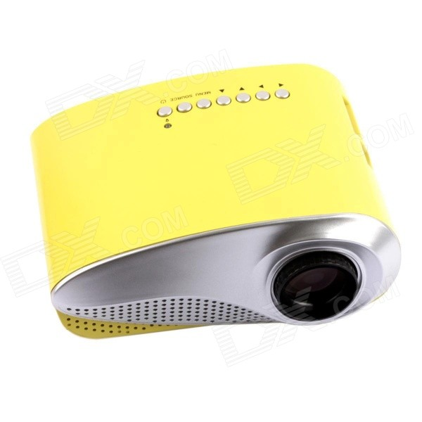 RD-802 24W LED HD Home Mini Projector w/ HDMI / VGA / USB + Remote Control - Yellow (US Plug)