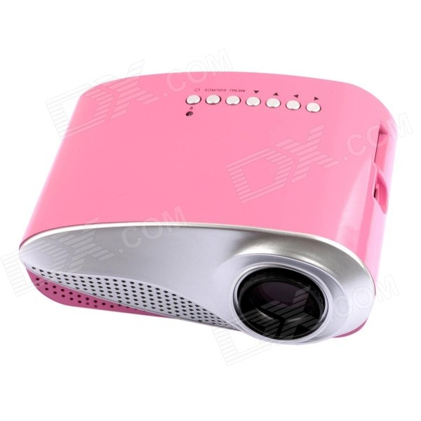 RD-802 24W LED HD Home Mini Projector w/ HDMI / VGA / USB + Remote Control - Pink (US Plug)