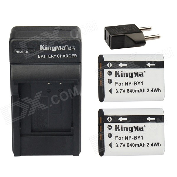 цены  Kingma NP-BY1 2-Batteries + US Battery Charger + EU Adapter Kit for Sony Sports Camera HDR-AZ1