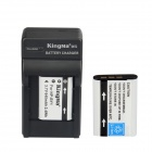 Kingma NP-BY1 2-Batteries + US Battery Charger + EU Adapter Kit for Sony Sports Camera HDR-AZ1